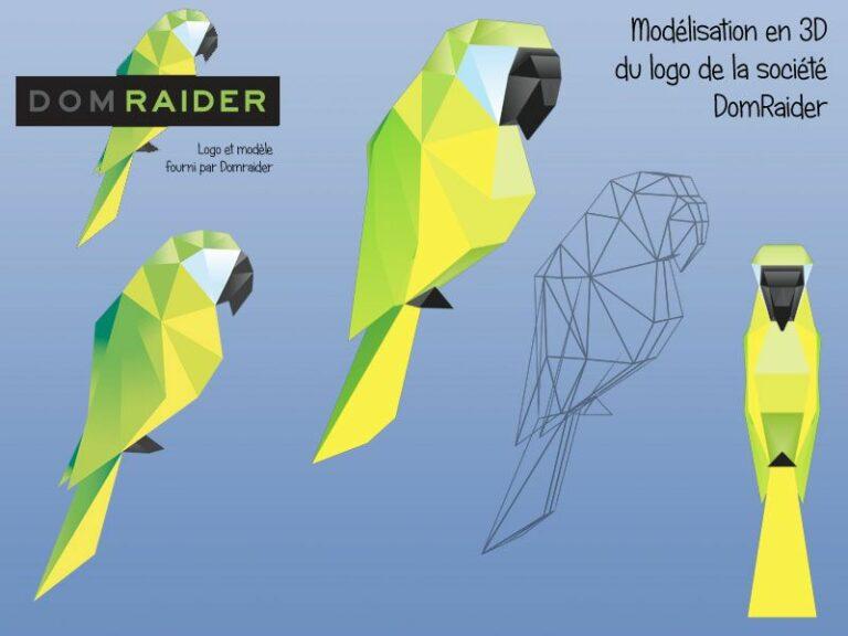 Création de la version 3D du logo Domraider pour impression en 3D
