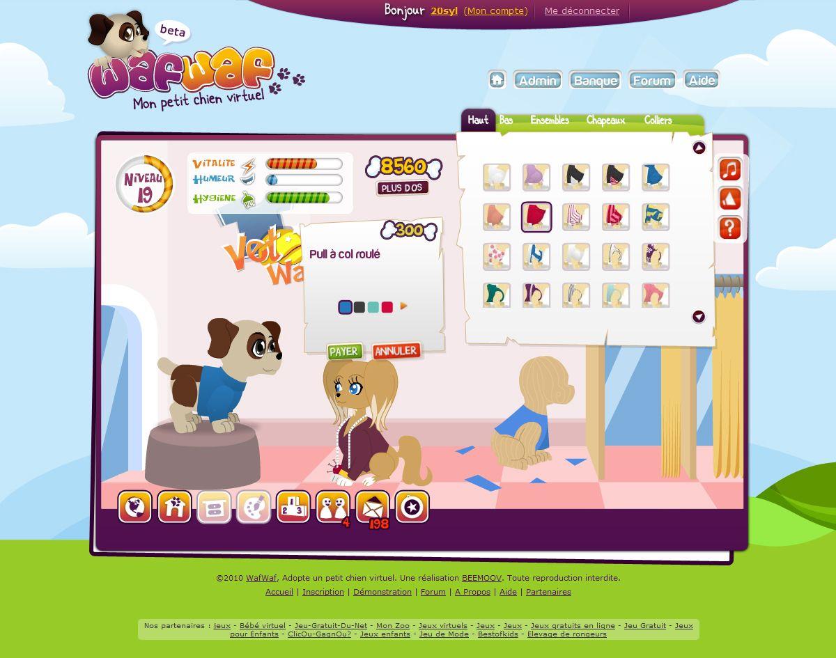 Wafwaf - Mon petit chien virtuel: La boutique de vêtements